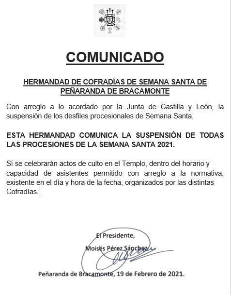 comunicado ofical de la junta de Semana Santa